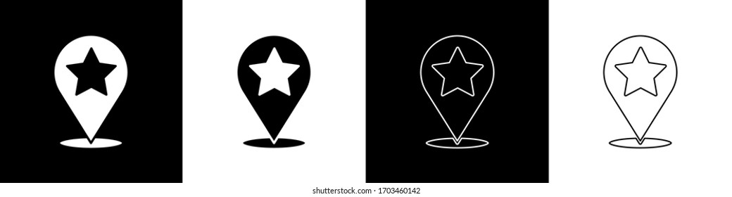 Set Map pointer with star icon isolated on black and white background. Star favorite pin map icon. Map markers.  Vector Illustration
