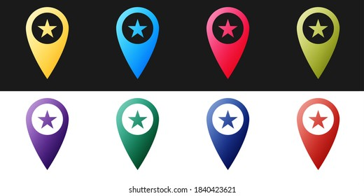 Set Map pointer with star icon isolated on black and white background. Star favorite pin map icon. Map markers. Vector.