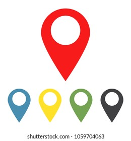 Set of map pointers icons. GPS location symbol. Vector illustration.