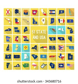 Set of maps of all 51 american states and USA flag style map with long shadow.