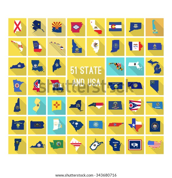 Set Von Karten Aller 51 Amerikanischen Stock Vektorgrafik