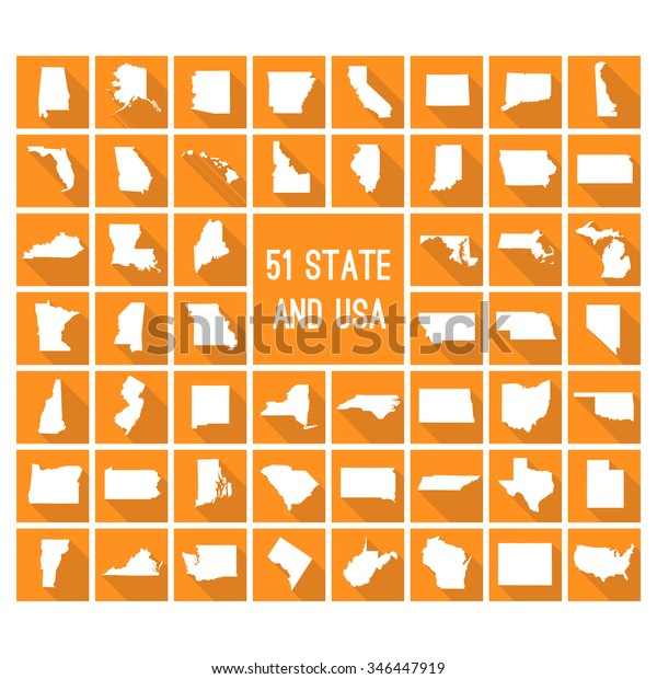 Map Of All The States In Usa.Set Maps All 51 American States Stock Vector Royalty Free 346447919