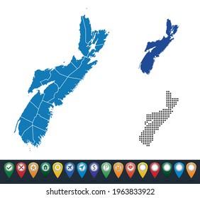 Set maps of Nova Scotia state