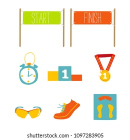 Set of marathon flat icon design, vector illustration.