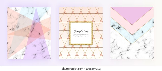 Set marble geometric designs posters in gold, cream, light blue, pastel pink. Trendy backgrounds for designs banner, card, flyer, invitation, party, birthday, wedding, placard, magazine,  website