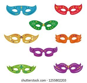 Set of mardi gras masks