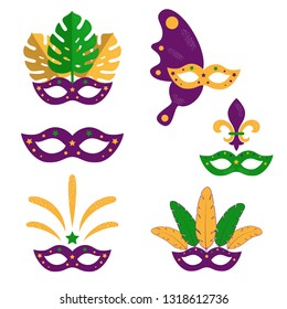 Set of Mardi Gras masquerade masks with plumage, monstera leaves,  fireworks. American New Orleans Fat Tuesday poster, greeting card. Sidney Mardi Gras parade. Carnival lettering. Vector illustration.
