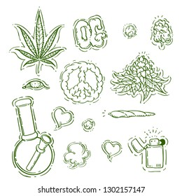 Set Marijuana, cannabis. Cigarettes, Peace Symbol, Eye, Heart, smoke, Organic, lighter, buds, leaves, bottle, glass jar,Hand Drawing vector engraving illustration. Isolated on white background