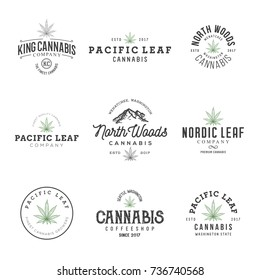 Set of marijuana cannabis leaf logo, labels.