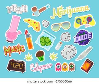 Set of marijuana cartoon objects. Badges, pins, stickers. Vector illustration. Hand Drawn.