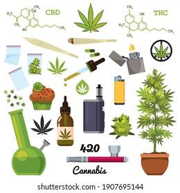 Setz Marihuana. Zigaretten, Pfeife, Feuerzeug, Knospen, Blätter, Flasche, Glas, Plastiktüten, CBD-Öl, Hanfkuchen, Pflanze, Pfeife für das Rauchen Cannabis. Farbflache Illustration. Einzelvektor