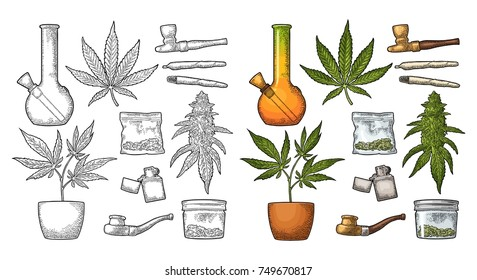 Set Marijuana. Cigarettes, pipe, lighter, buds, leaves, bottle, cigarette, glass jar, plastic bag, pipe for smoking cannabis. Vintage color vector engraving illustration. Isolated on white background