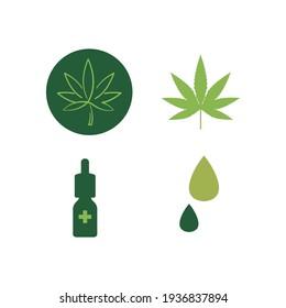 Set of marijuana flat icon.