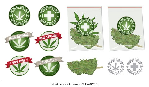 set of marijuana product vector label and bag