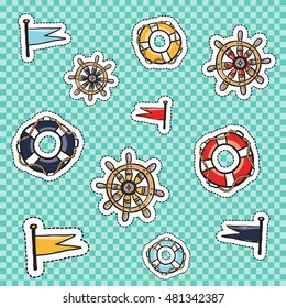 Set of marine elements: colored lifebuoy, cartoon captain helm or steering-wheel, ship flags. Cute and funny kids toy water ocean transport vector patches, stickers, badges or pins design kit.