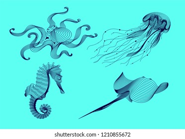 Set marine graphic animals. Vector illustration. The sea horse, octopus, jellyfish, cramp consist of lines.Digital elements design  for business cards, invitations, gift cards, flyers, web.