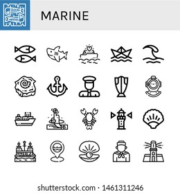 Set of marine icons such as Mackerel, Sardines, Shark, Yatch, Paper ship, Wave, Shell, Anchor, Captain, Cod, Diving helmet, Cargo ship, Dolphin, Lobster, Lighthouse, Ocean , marine