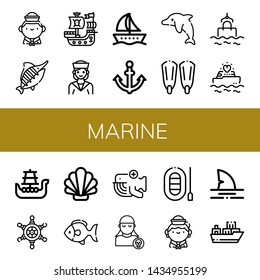 Set of marine icons such as Sailor, Marlin, Pirate ship, Boat, Anchor, Dolphin, Fins, Sea, Yatch, Battleship, Helm, Shell, Fish, Whale, Pirate, Shark, Cargo ship , marine