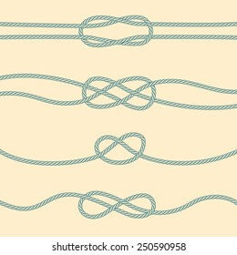 Set of marine knots: reef, carrick bend, overhand, figure 8.
