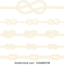 Set of marine knots. Seamless rope borders.