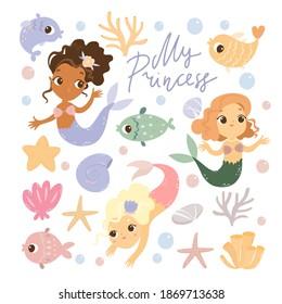 set of marine life, mermaids, fish, corals and seashells. Cute illustrations in cartoon style. My princess