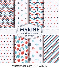 Set of marine and nautical backgrounds in blue, red and white colors. Sea theme. Cute seamless patterns collection. Vector illustration.
