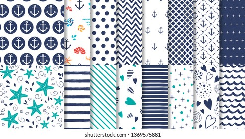 Set of marine and nautical backgrounds in navy blue and white colors. Sea theme. Elegant seamless patterns collection. Geomteric templates Striped blue patterns Vector illustration.