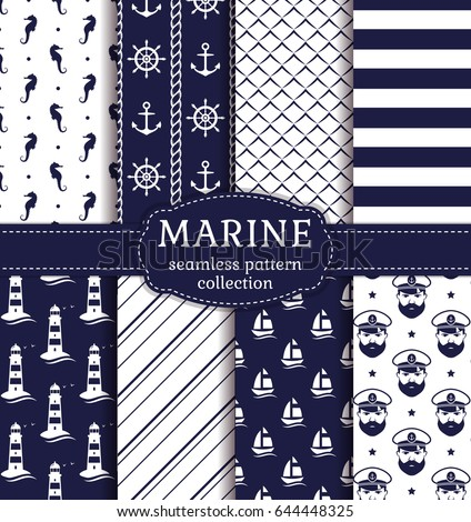 4a31d6218 Set of marine and nautical backgrounds in navy blue and white colors. Sea  theme.