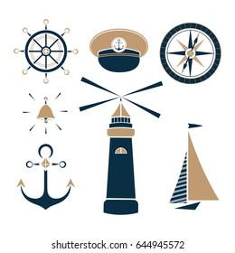 Set of marine objects wheel, captain's cap, lighthouse, sailfish, compass, ship bell, anchor.