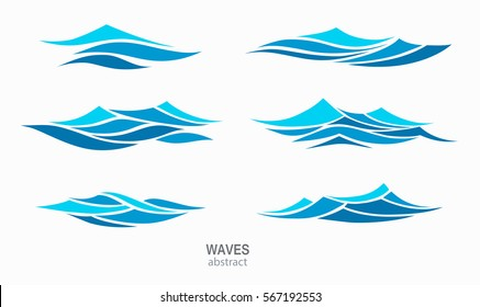 Set marine pattern with stylized blue waves on a light background. Water Wave Logo abstract design. Cosmetics Surf Sport Logotype concept. Aqua icon.
