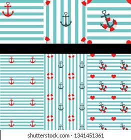 set of marine patterns, anchor, heart, lifebuoy, stripes, blue, white, sae, summer