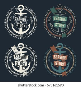 Set of marine retro emblems with anchor and ribbon on dark background. Rubbed texture on a separate layer and can be easily disabled.