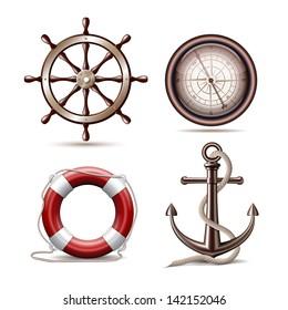Set of marine symbols on white background. Vector Illustration.