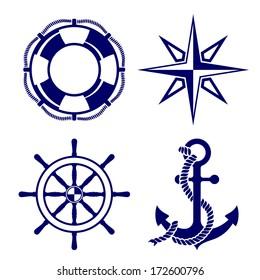 Set of marine symbols  Vector Illustration.