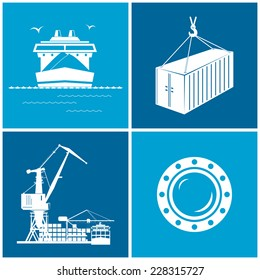 Set of maritime icons for web design. Icons dry-cargo ship, porthole, container and cranes, cranes unload containers from the cargo container ship, vector lllustration