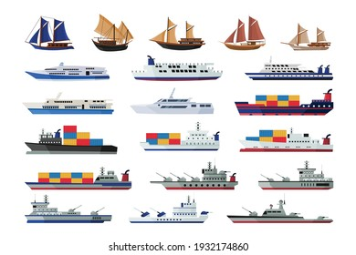 Set of maritime ship collections shipping boats, sail boat, ocean ships, yacht sailing boats, cargo ships water transport vector illustration