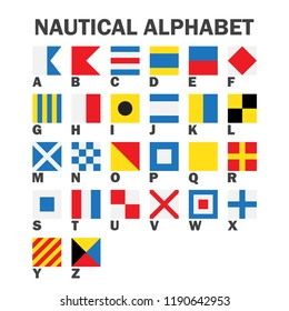 Set of maritime signal flags. Communication system used in sailing. Vector illustration, isolated on white background
