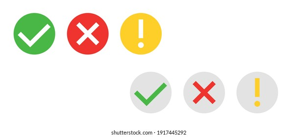 Set of Сheck mark green, yellow exclamation sign and red wrong mark. Vector icon