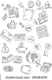 The set of market and shopping online doodles for websites, print templates, presentation templates, promotional materials, illustrations, infographics, web and mobile phone services and apps videos