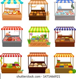 Set of market tents. Vector illustration on white background.