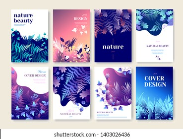 Set of marketing brochure vector illustrations. Annual report cover design. Cosmetics, fashion, beauty, spa, wellness, natural products, healthcare business presentation templates.