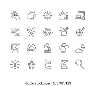 Set of Marketing outline icons isolated on white background.