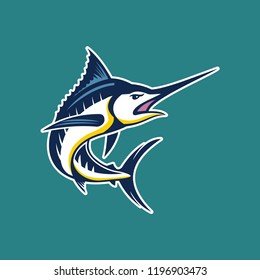 Set of marlin fish illustration. Marlin icon. Design elements for logo, label, emblem, sign, brand mark. Vector illustration.