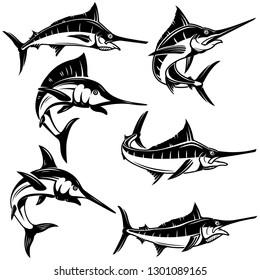 Set of marlin, swordfish illustrations. Design element for logo, label, emblem, sign, badge. Vector illustration