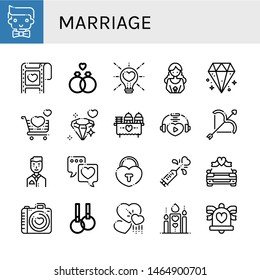 Set of marriage icons such as Groom, Wedding, Wedding ring, Love, Bride, Diamond, Wedding car, Rings, Hearts, Romantic, bells , marriage