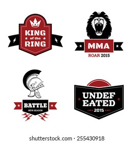 Set of martial arts logo. mma and mix fight, emblem and ring. Vector illustration