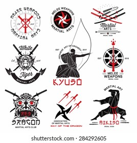 Set of martial arts, ?riental weapons and samurai logo, emblems and design elements. Illustration crossed samurai swords, athletes in kimono and  asian mask.