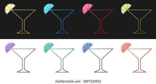 Set Martini glass icon isolated on black and white background. Cocktail with lime symbol. Vector.