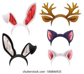 Set mask cat, rabbit, deer antler and ears. Isolated on white vector illustration