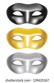 set of masks on a white background - vector illustration